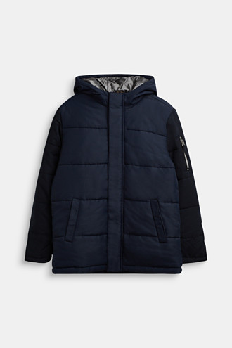 Quilted jacket in a material mix