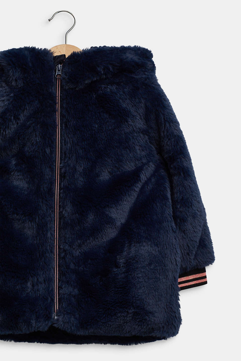 Faux fur jacket, NAVY, detail image number 3