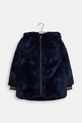 Faux fur jacket, NAVY, detail