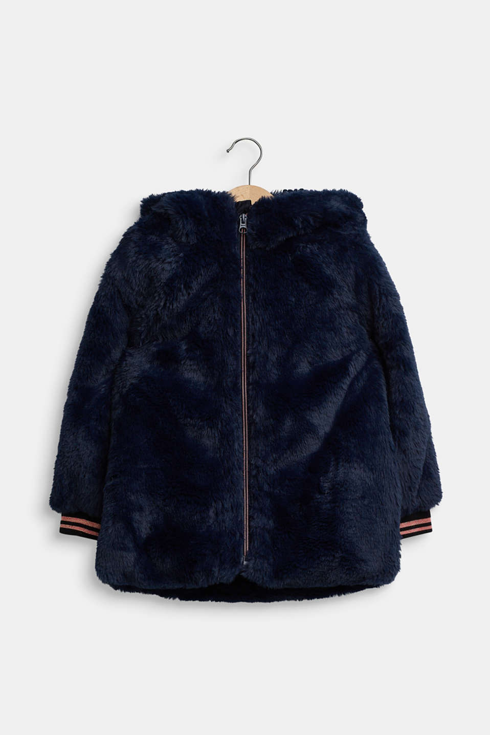 Faux fur jacket, NAVY, detail image number 0
