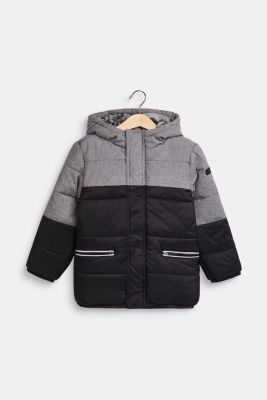 Quilted jacket with hood and colour blocks, BLACK, detail
