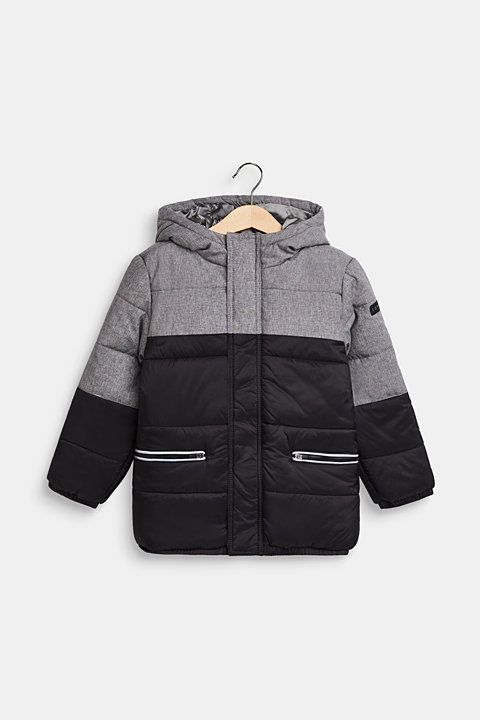 Quilted jacket with hood and colour blocks