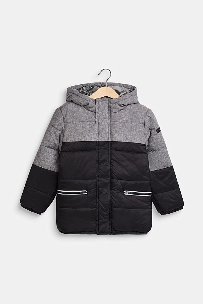 Gewatteerde jas met capuchon en colour block, BLACK, detail image number 0