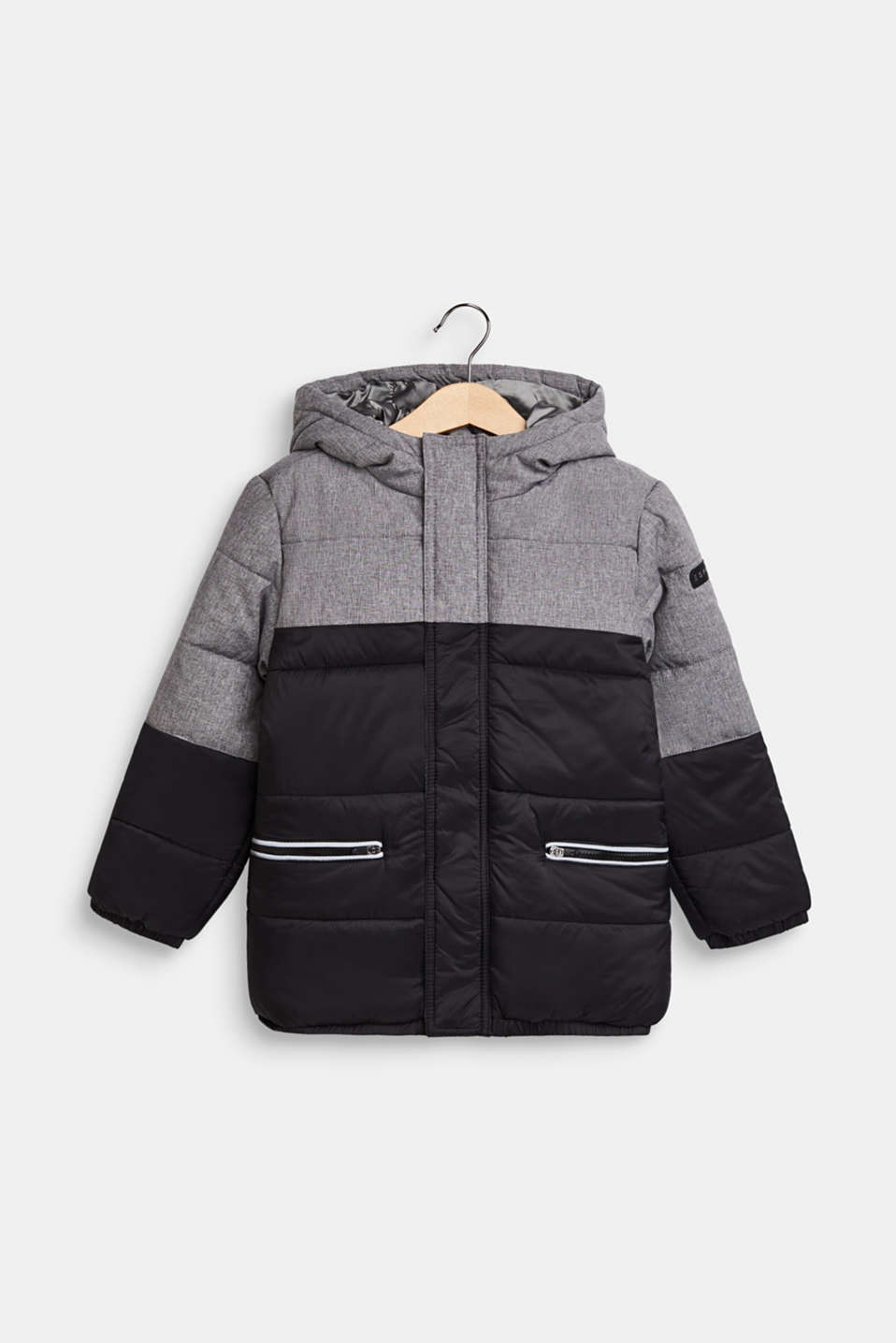 Quilted jacket with hood and colour blocks, BLACK, detail image number 0