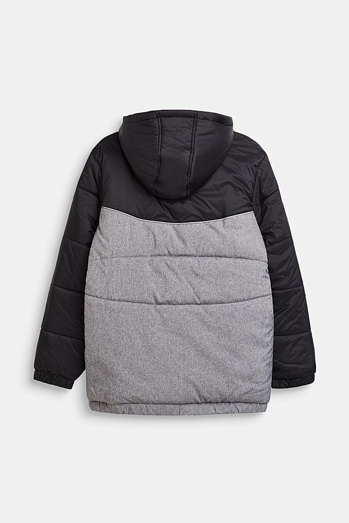 Chaqueta acolchada con capucha y diseño de bloques de color, BLACK, detail image number 1