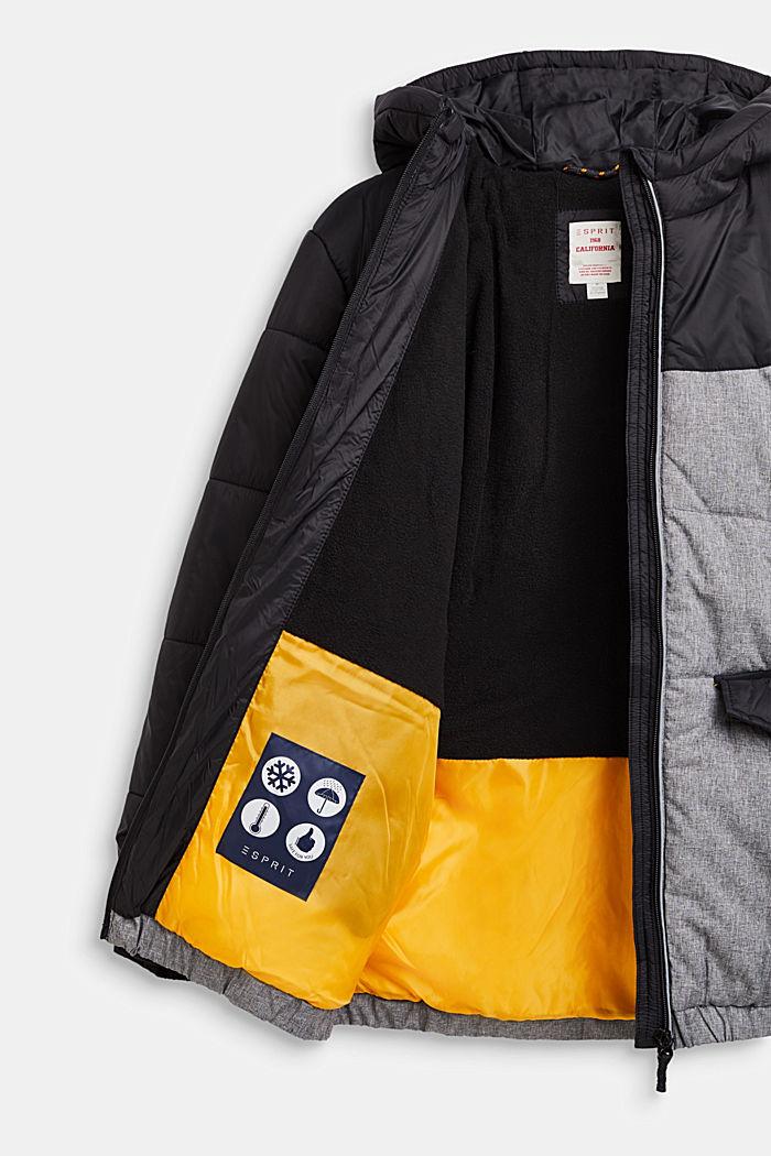 Chaqueta acolchada con capucha y diseño de bloques de color, BLACK, detail image number 2
