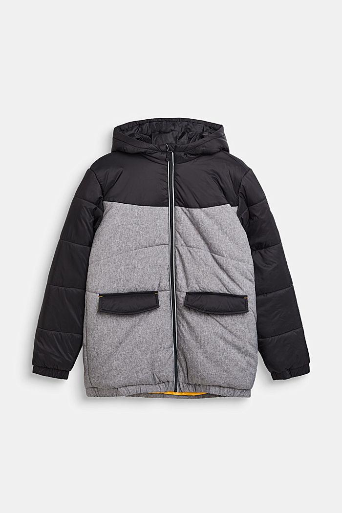 Chaqueta acolchada con capucha y diseño de bloques de color, BLACK, detail image number 0