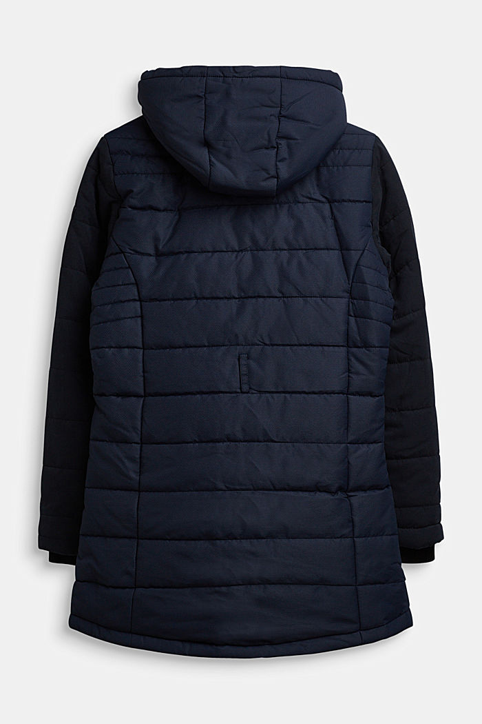 Quilted coat in a material mix, NAVY, detail image number 1