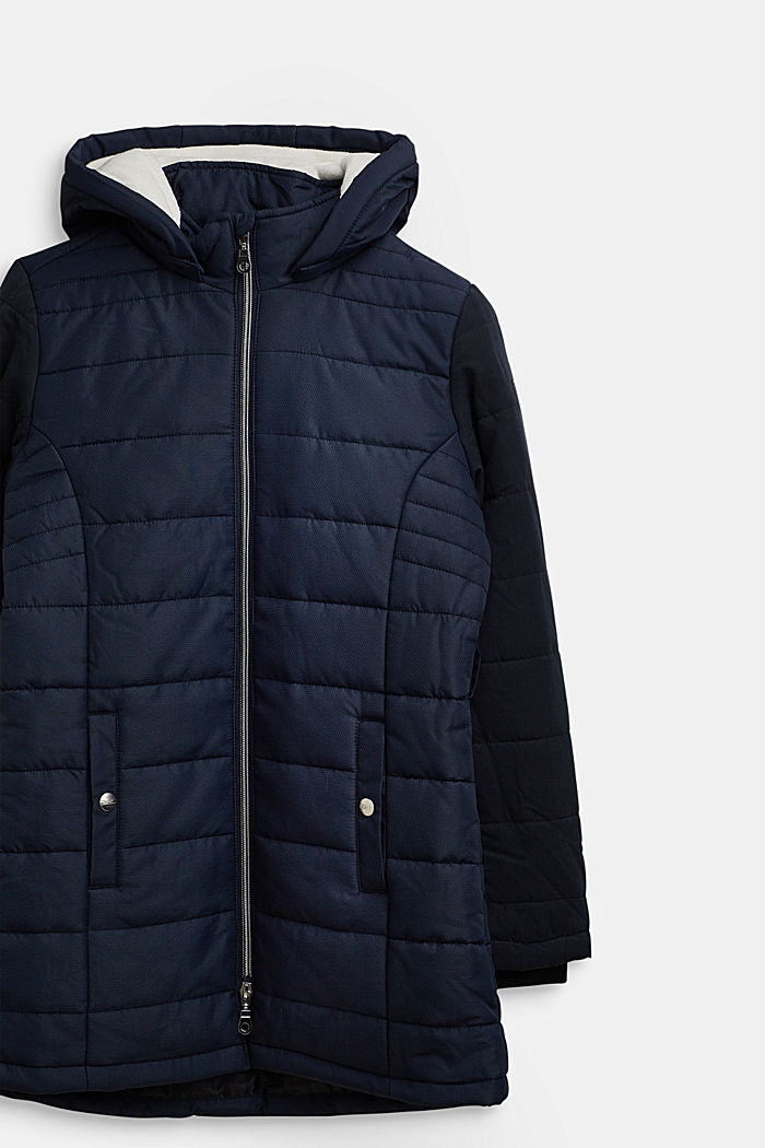 Quilted coat in a material mix, NAVY, detail image number 2