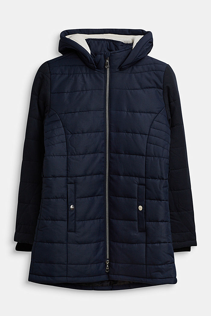 Quilted coat in a material mix, NAVY, detail image number 0