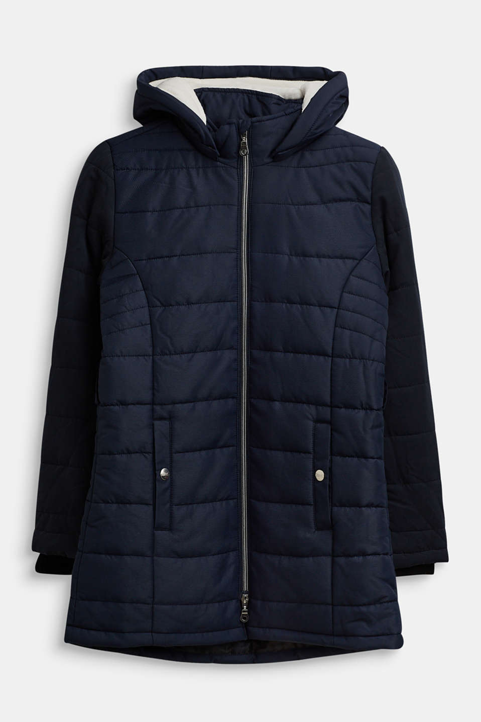 Esprit - Quilted coat in a material mix