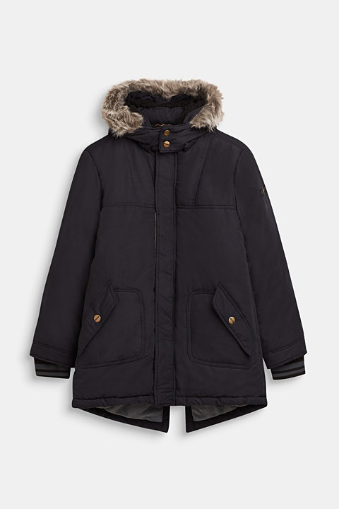 Parka with fleece lining and adjustable hood