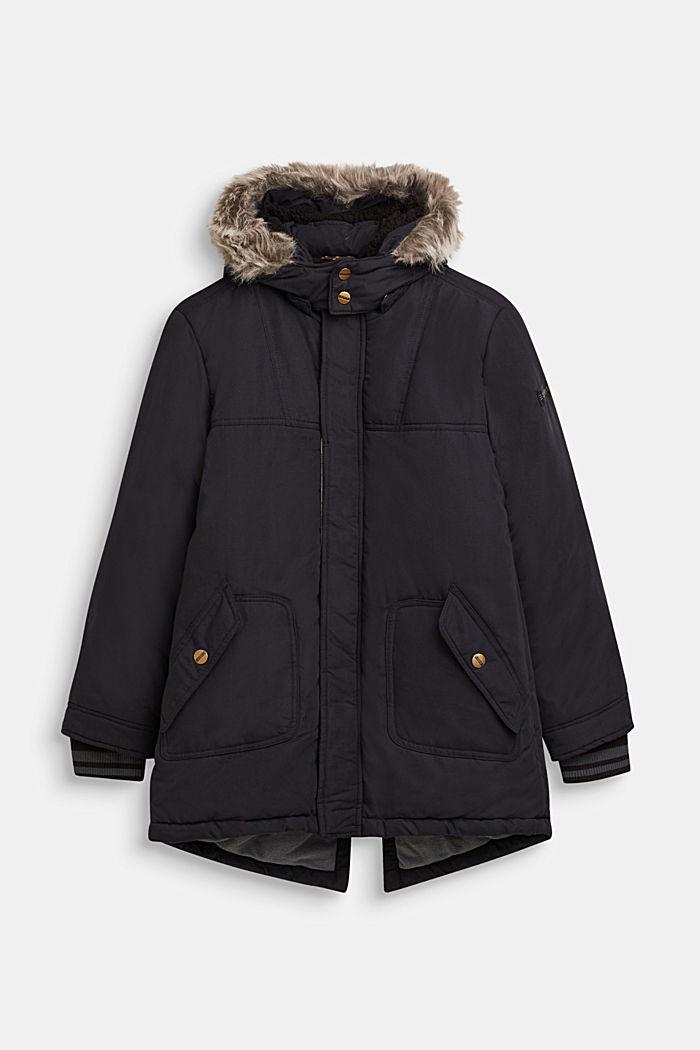 Parka met fleece voering en variabele capuchon, BLACK, detail image number 0