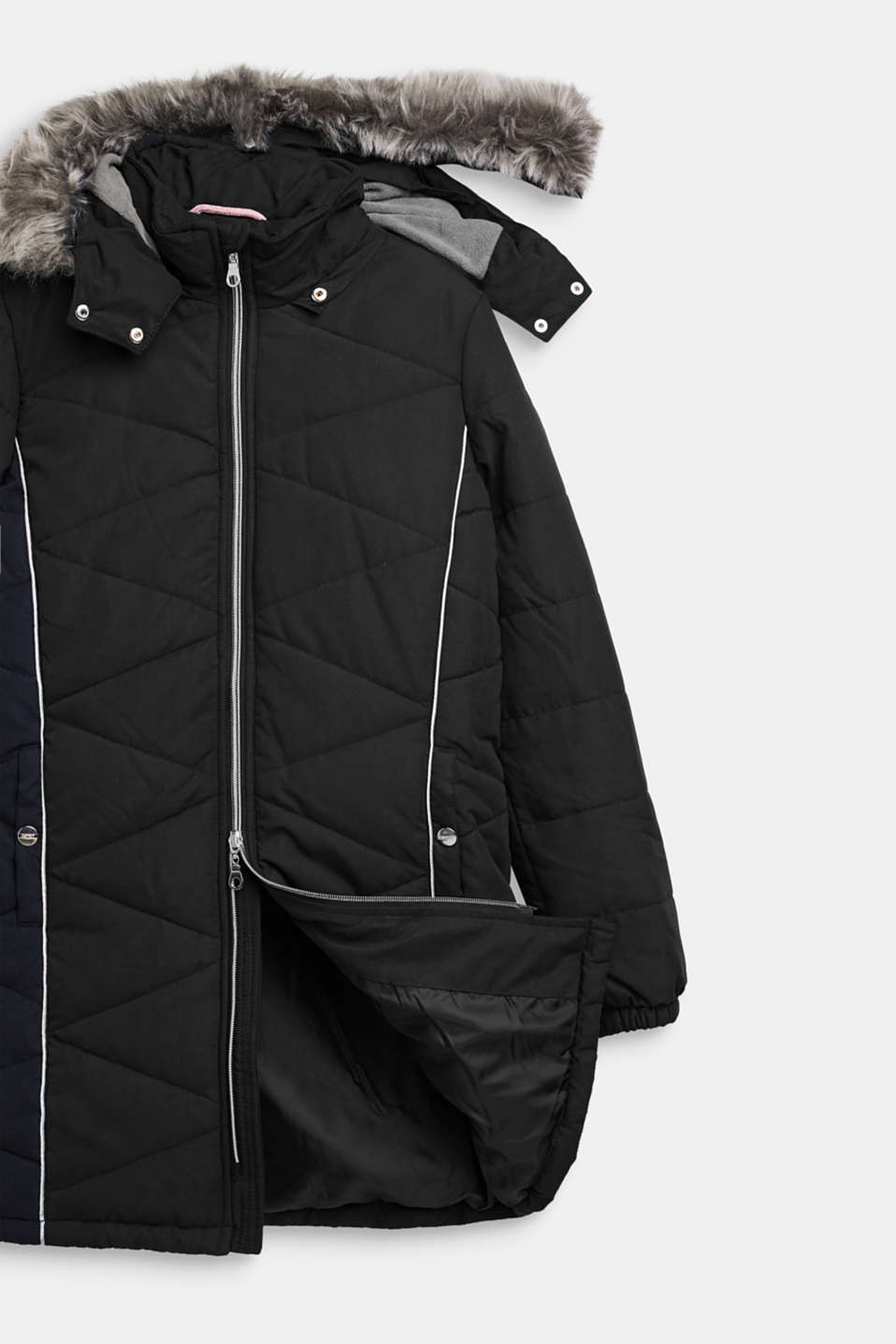 Quilted jacket with an adjustable hood, LCBLACK, detail image number 2