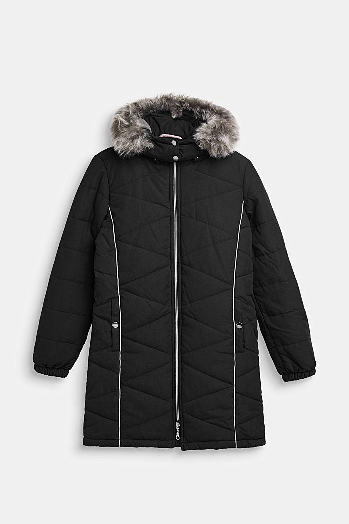 Prošívaná bunda s variabilní kapucí, BLACK, detail image number 0