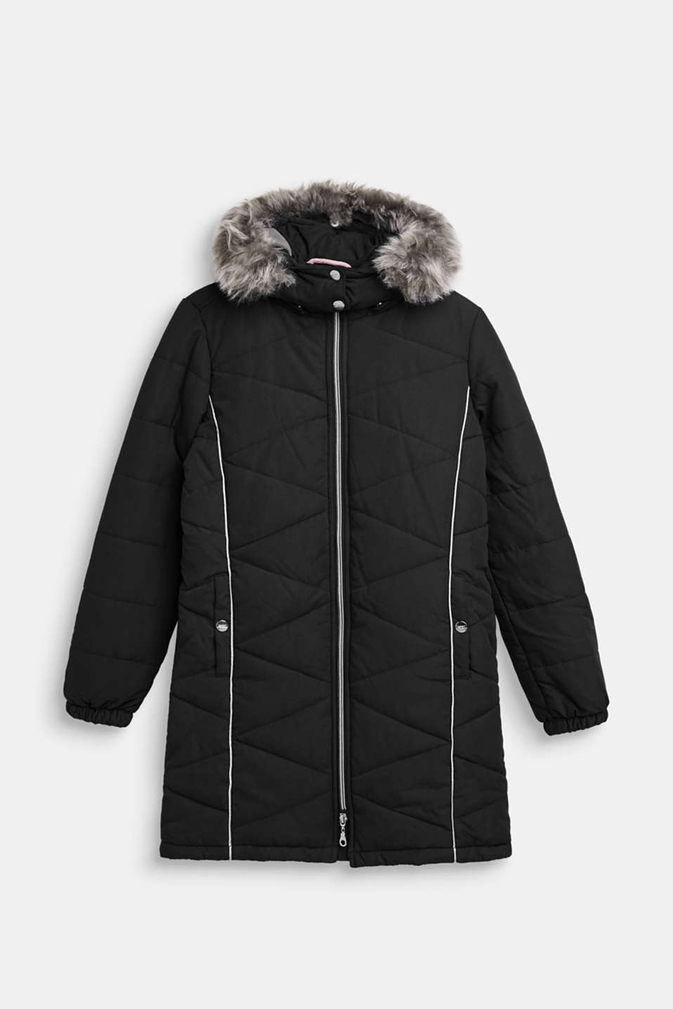 Quilted jacket with an adjustable hood, LCBLACK, detail image number 0