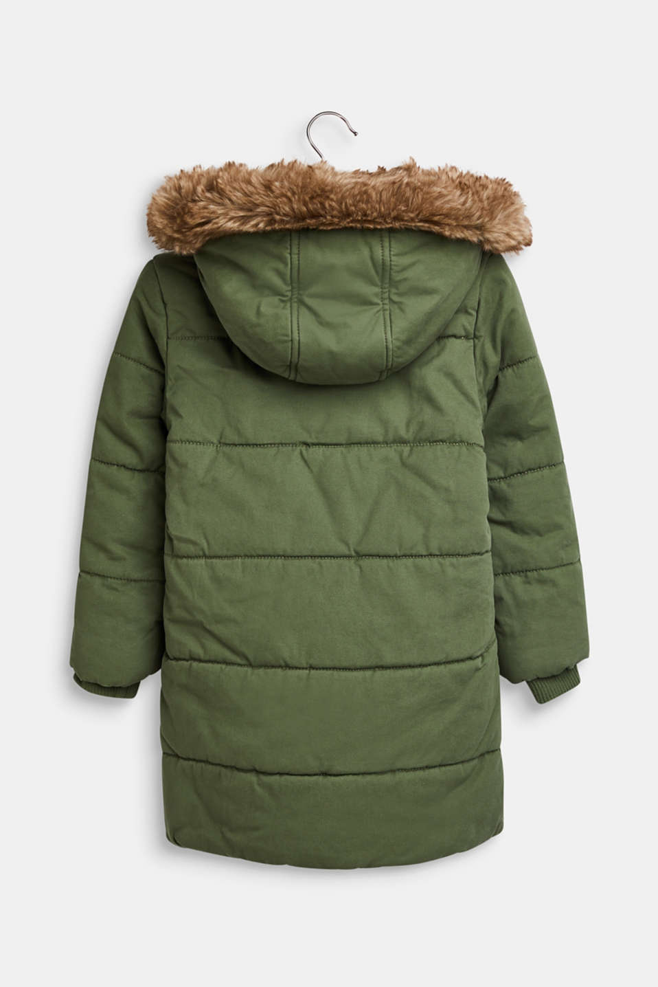 Padded cotton parka with a hood, OLIVE, detail image number 1