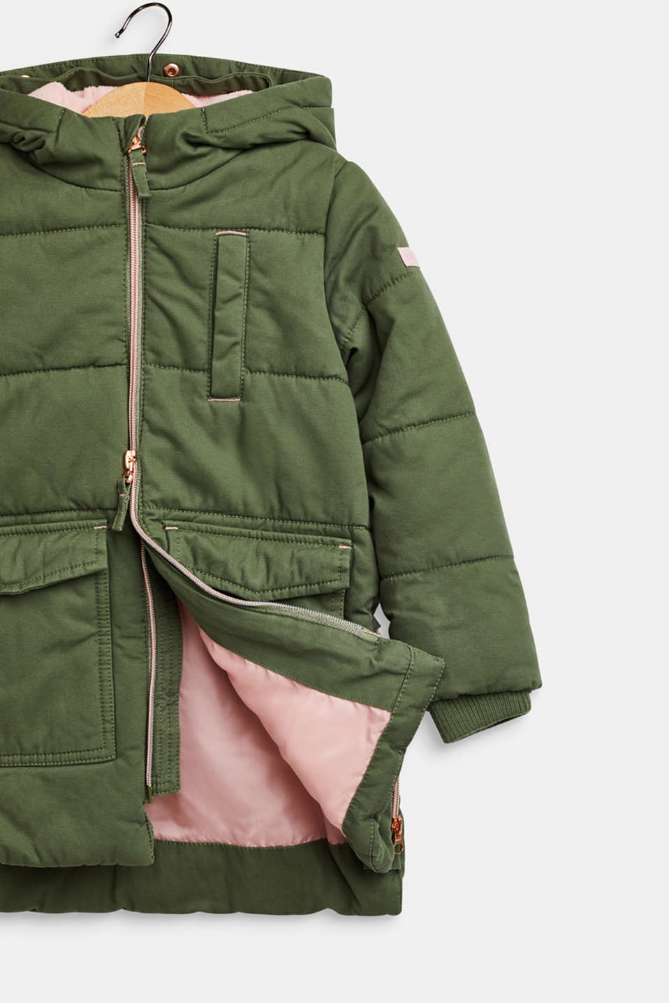 Padded cotton parka with a hood, OLIVE, detail image number 2