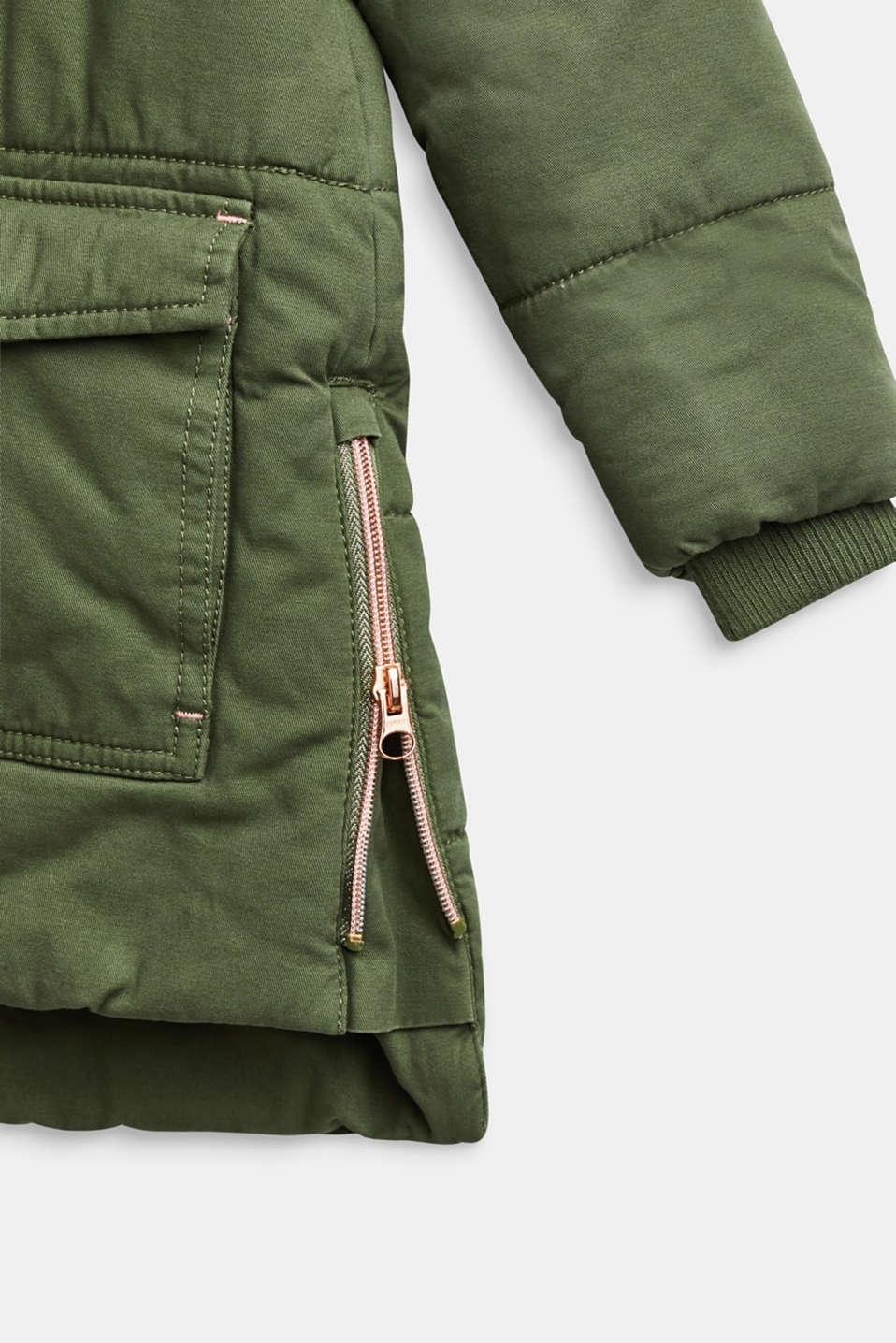 Padded cotton parka with a hood, OLIVE, detail image number 3