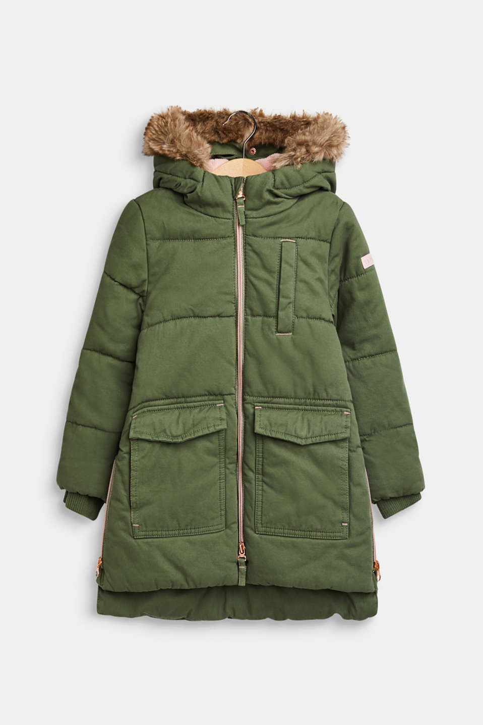 Padded cotton parka with a hood, OLIVE, detail image number 0