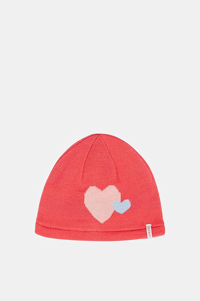 Mütze mit Herz-Motiv und Fleece-Futter