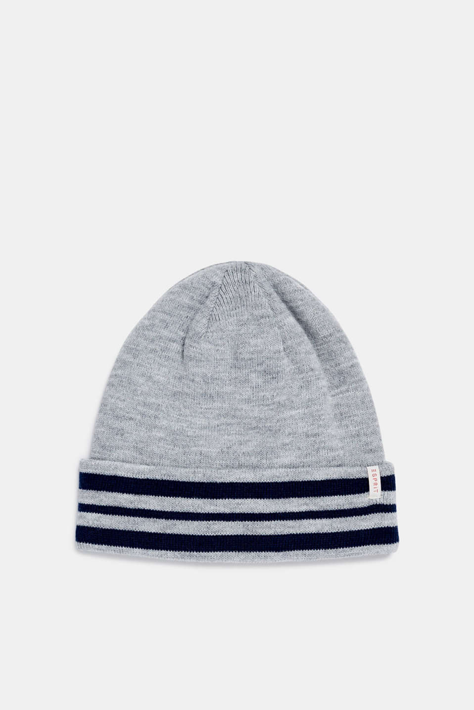 Beanie with a striped cuff, LCHEATHER SILVER, detail image number 0