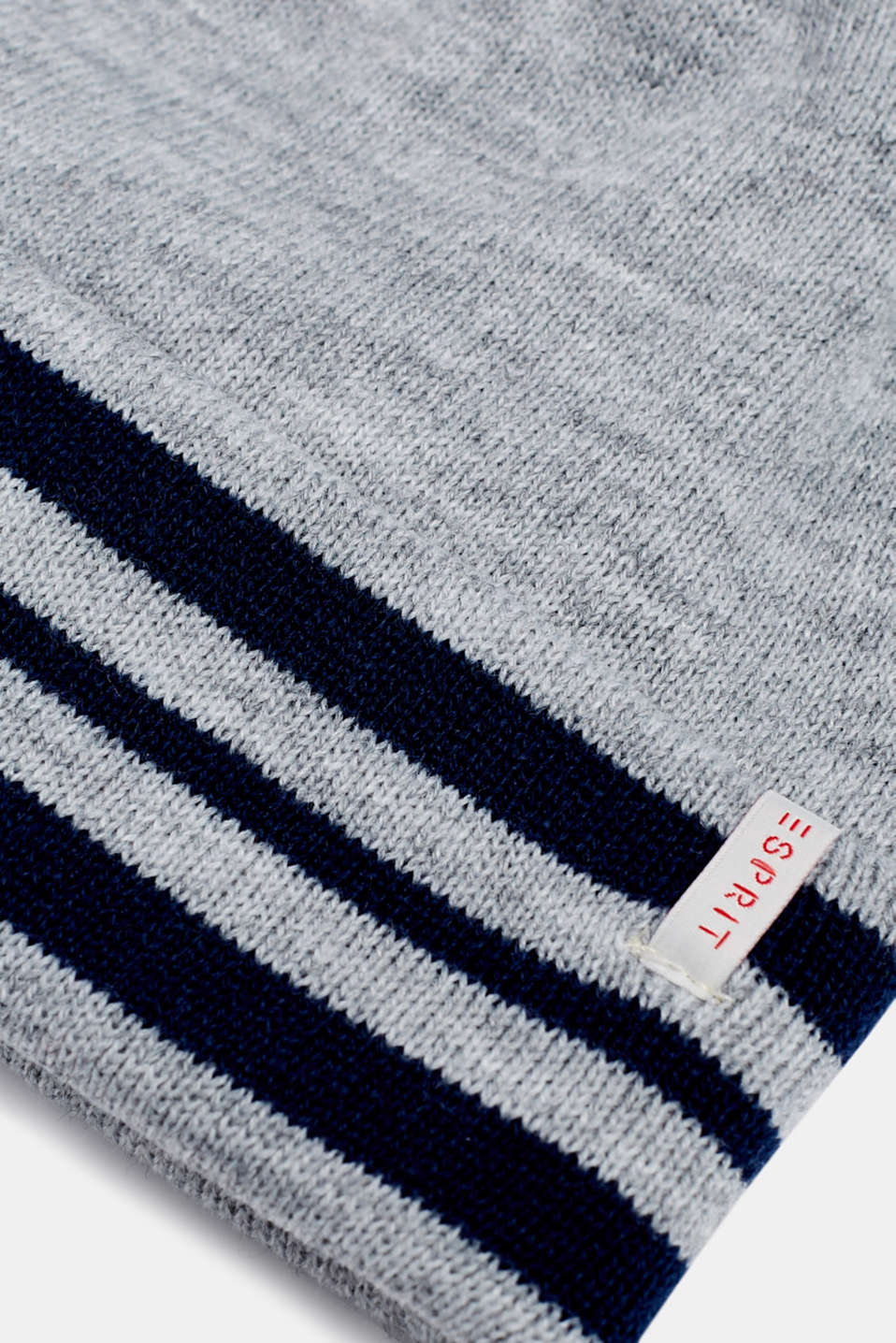 Beanie with a striped cuff, LCHEATHER SILVER, detail image number 1