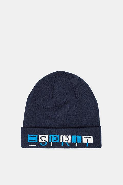 Hat with logo intarsia