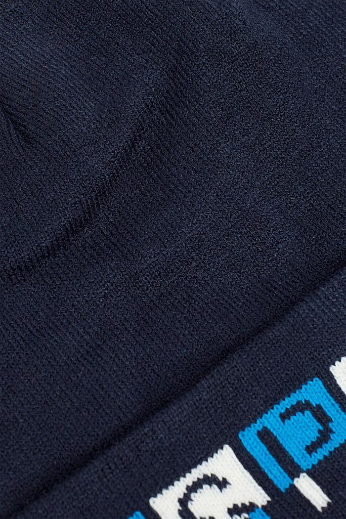 Muts met logo-intarsia, NAVY, detail image number 1