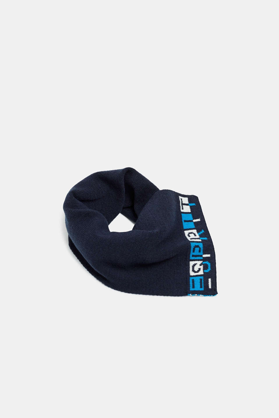 Scarf with logo intarsia, NAVY, detail image number 0