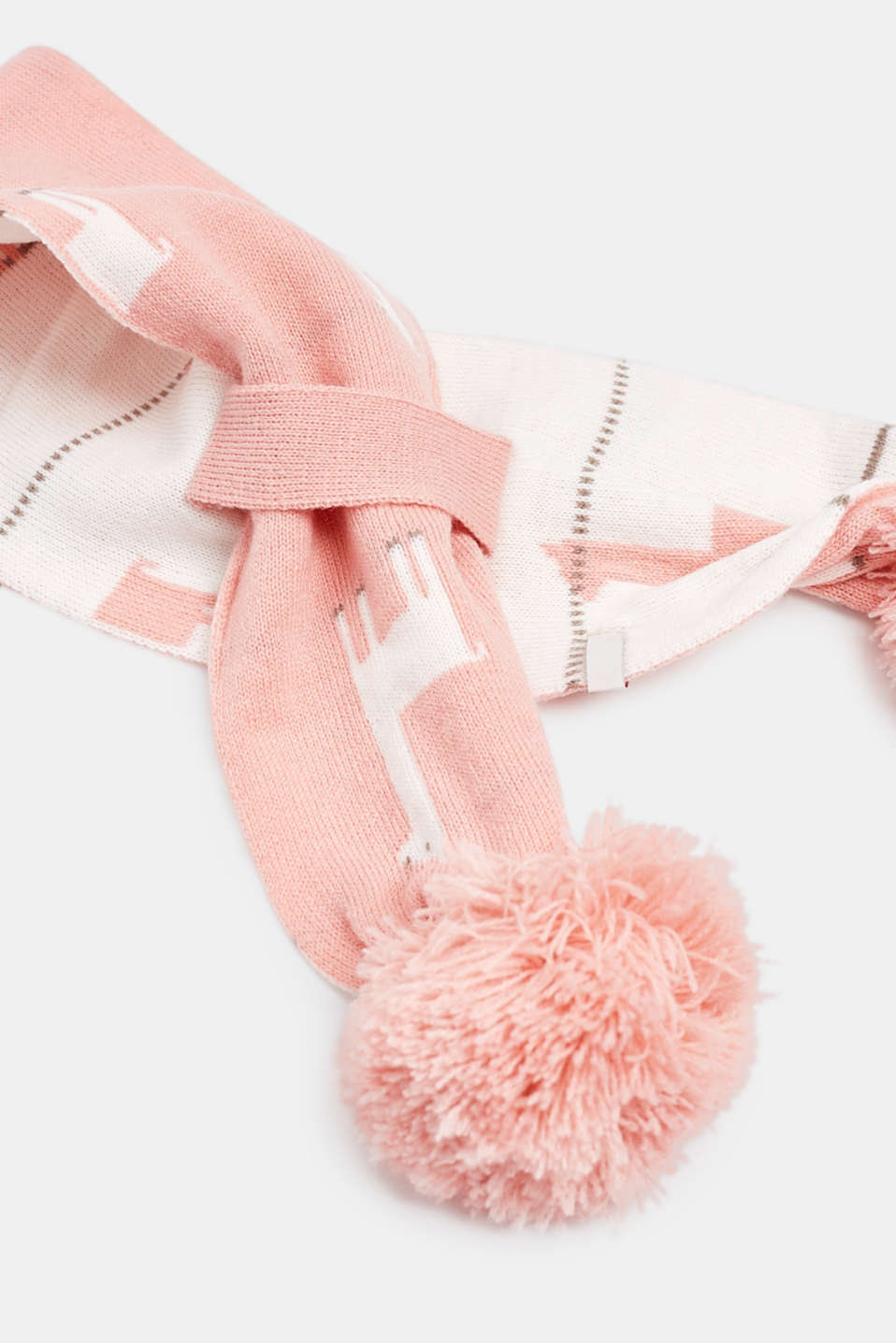 Knitted scarf with llama intarsia and pompoms, LCLIGHT BLUSH, detail image number 1
