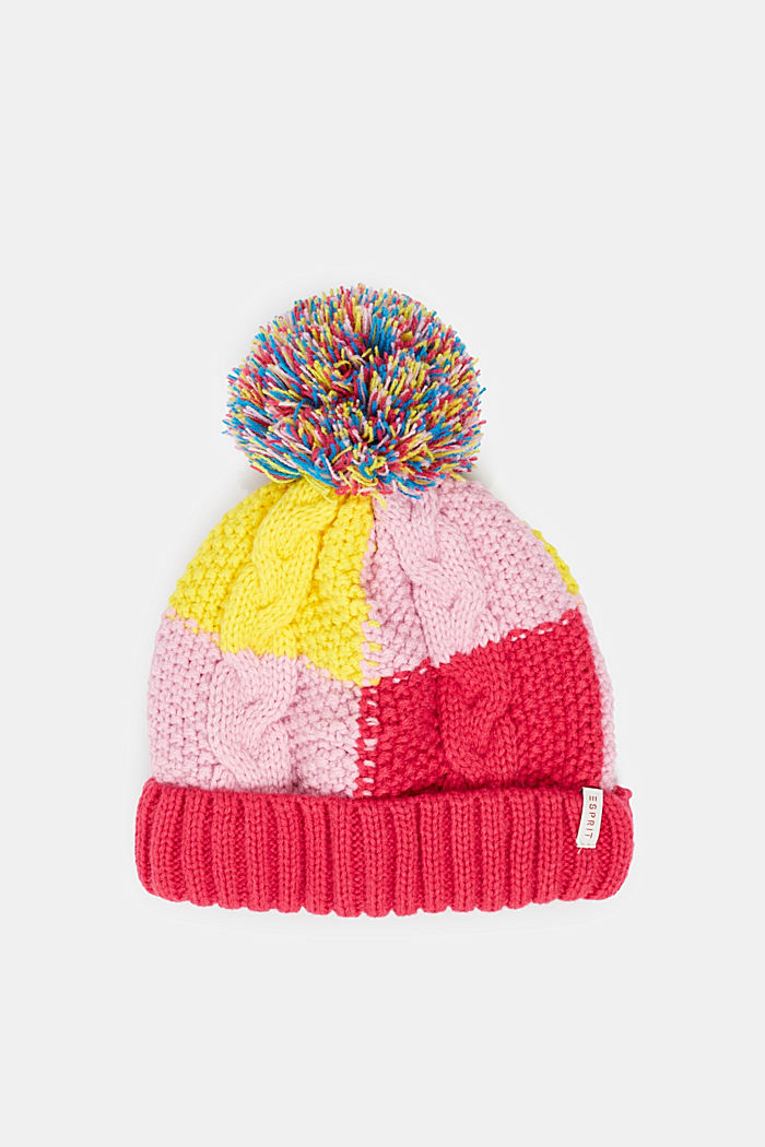 Colour block knitted hat with fleece lining