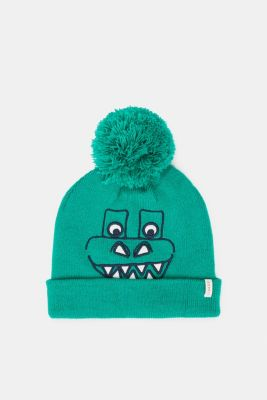 Hat with dinosaur face and pompom, MID GREEN, detail