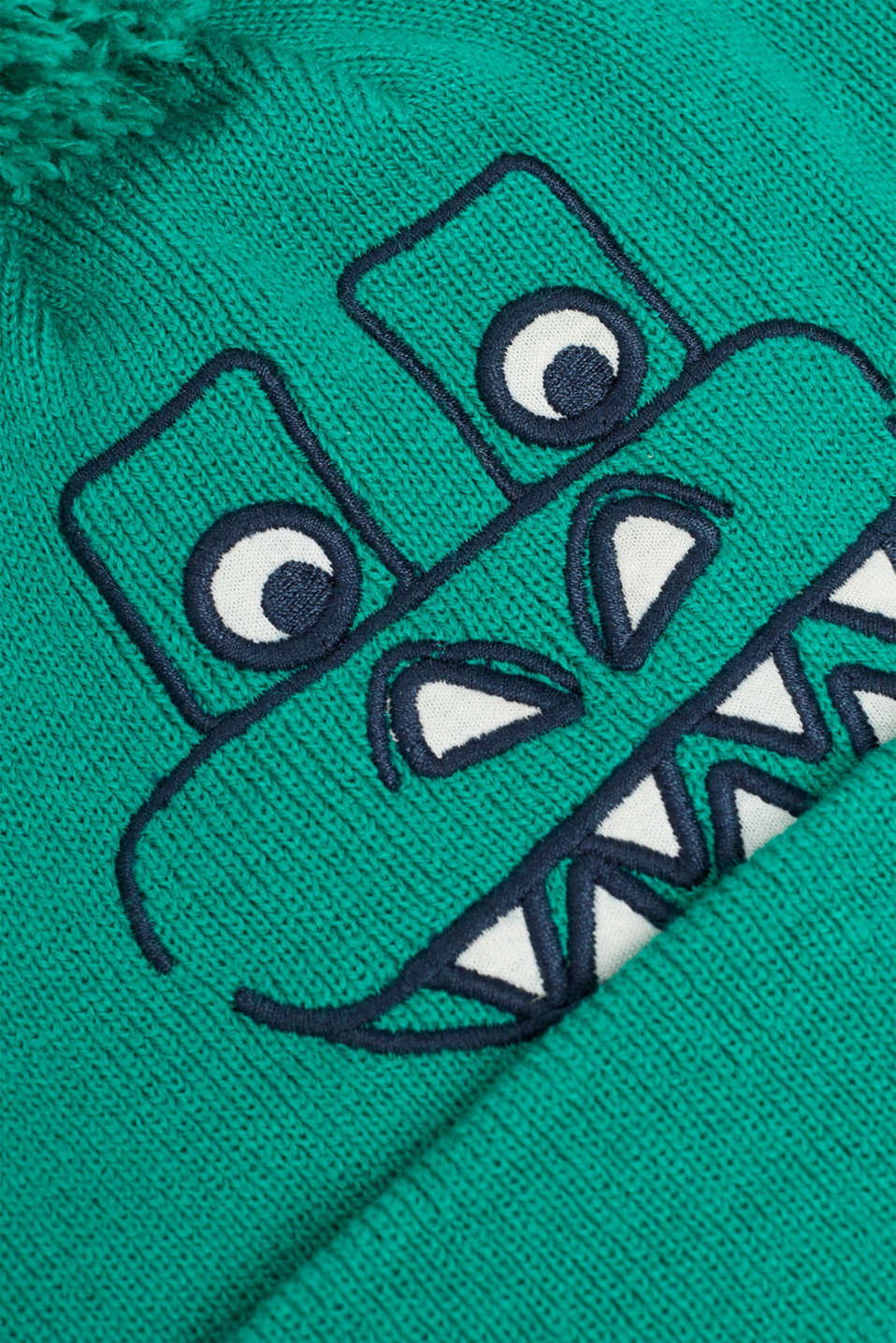 Hat with dinosaur face and pompom, MID GREEN, detail image number 1