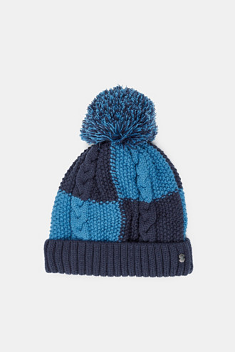 Colour block hat with fleece lining