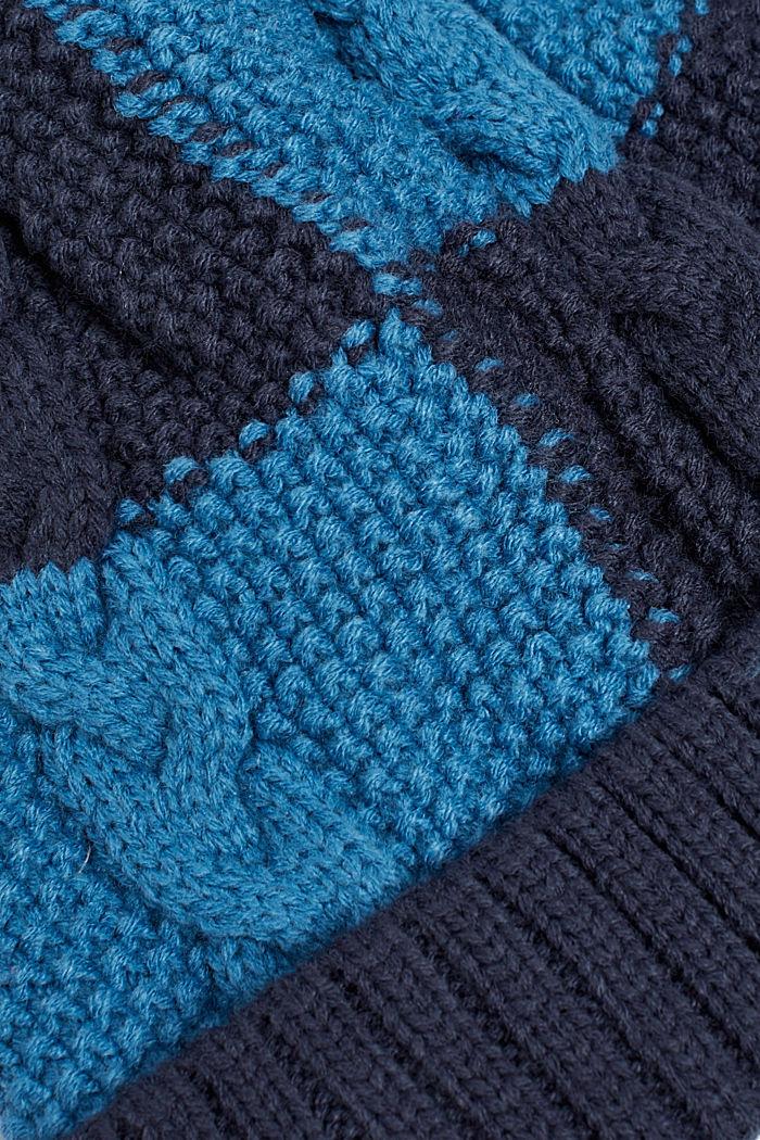 Colour block-muts met fleece voering, DEEP INDIGO, detail image number 1
