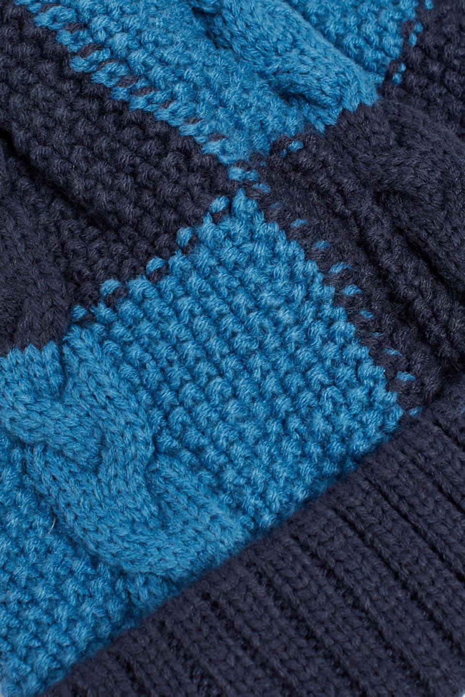 Colour block hat with fleece lining, LCDEEP INDIGO, detail image number 1