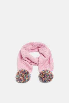 Scarf with colourful pompoms, CANDY PINK, detail