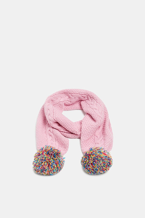 Scarf with colourful pompoms