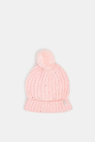 Pompom hat with sequins