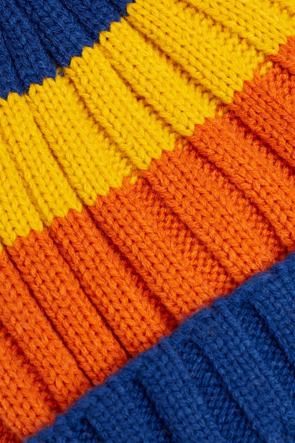 Striped hat with a pompom, indigo, detail image number 1