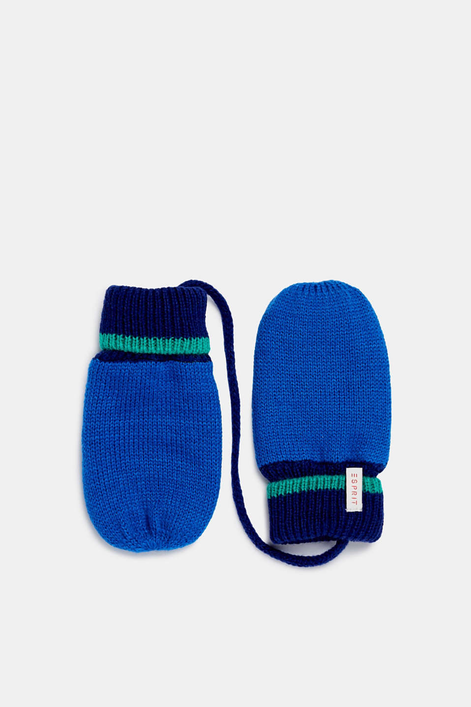 Mittens with ribbed cuffs, LCBRIGHT BLUE, detail image number 0