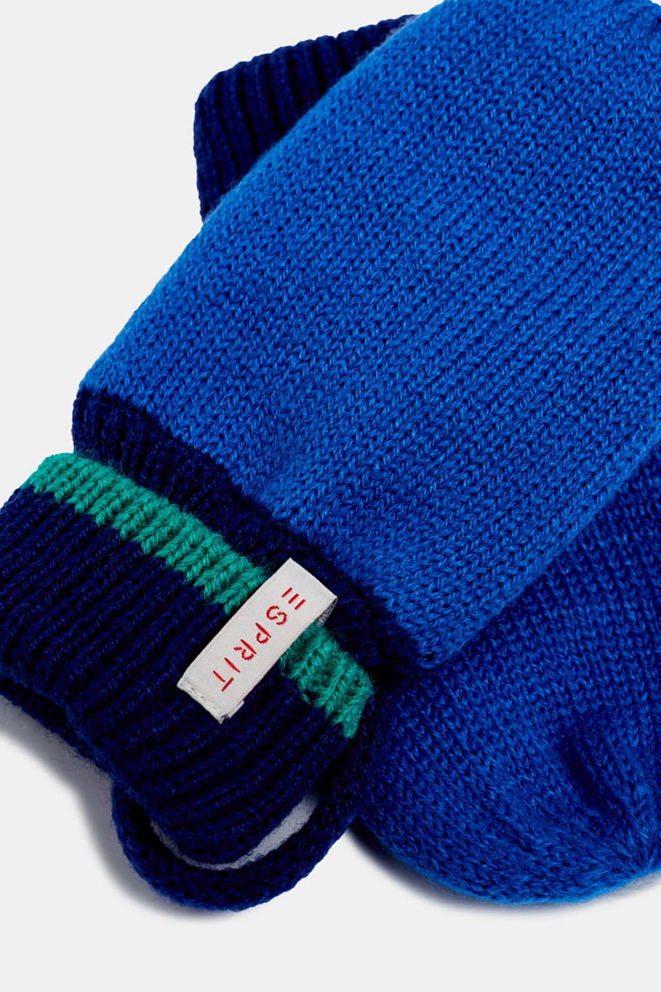 Mittens with ribbed cuffs, LCBRIGHT BLUE, detail image number 1