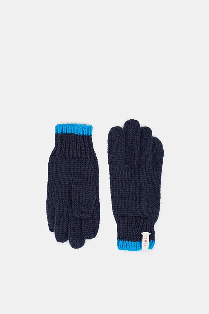 Handschuhe aus weichem Strick, NAVY, detail image number 0