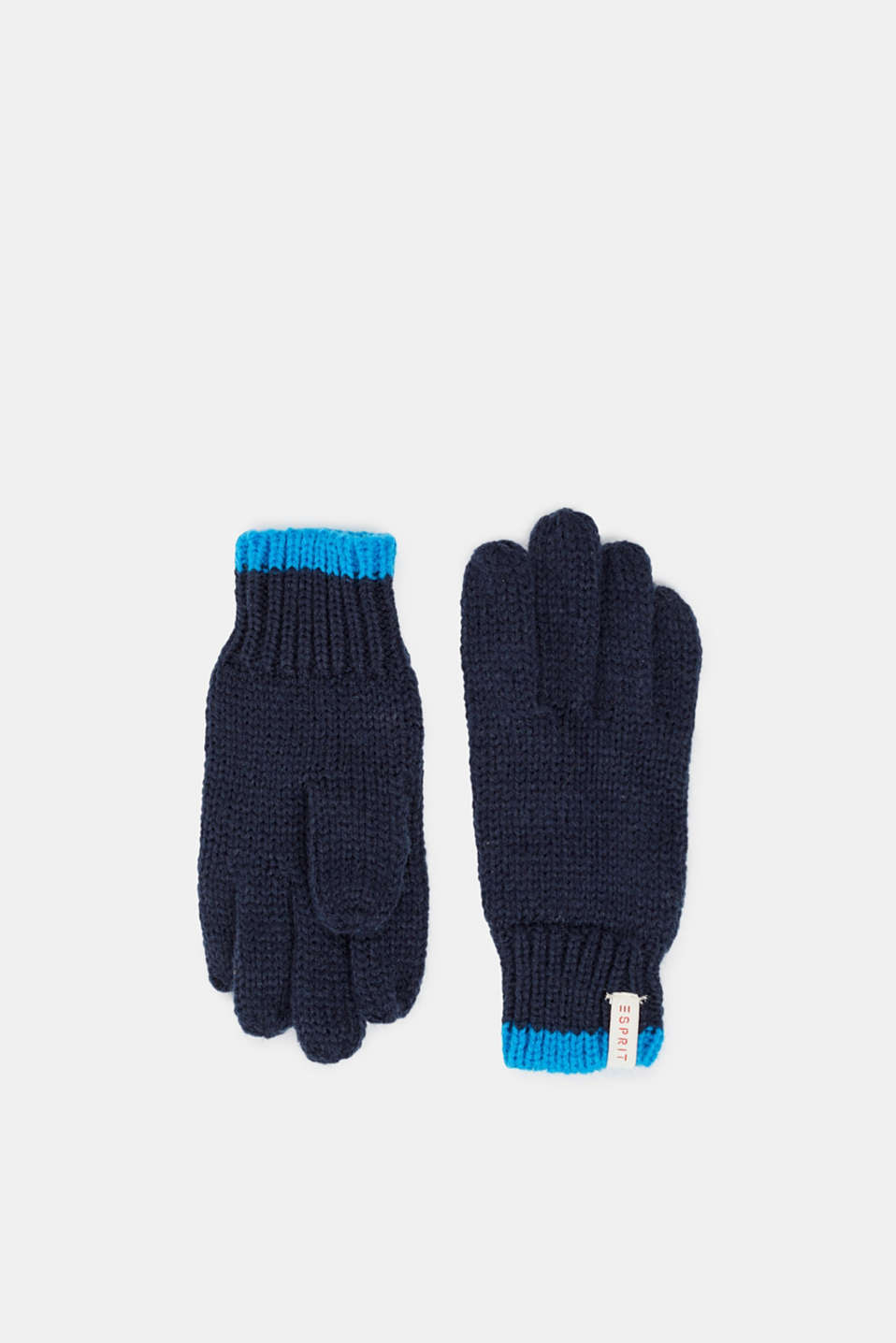 Gloves knit in soft yarn, NAVY, detail image number 0