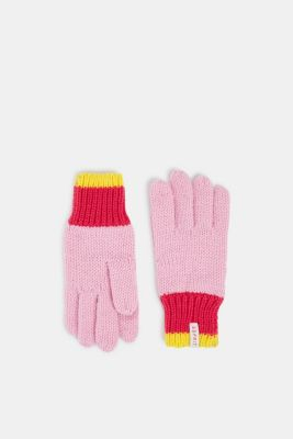 Gloves with striped ribbed cuff, CANDY PINK, detail