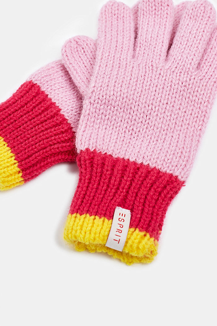 Gloves with striped ribbed cuff, CANDY PINK, detail image number 1