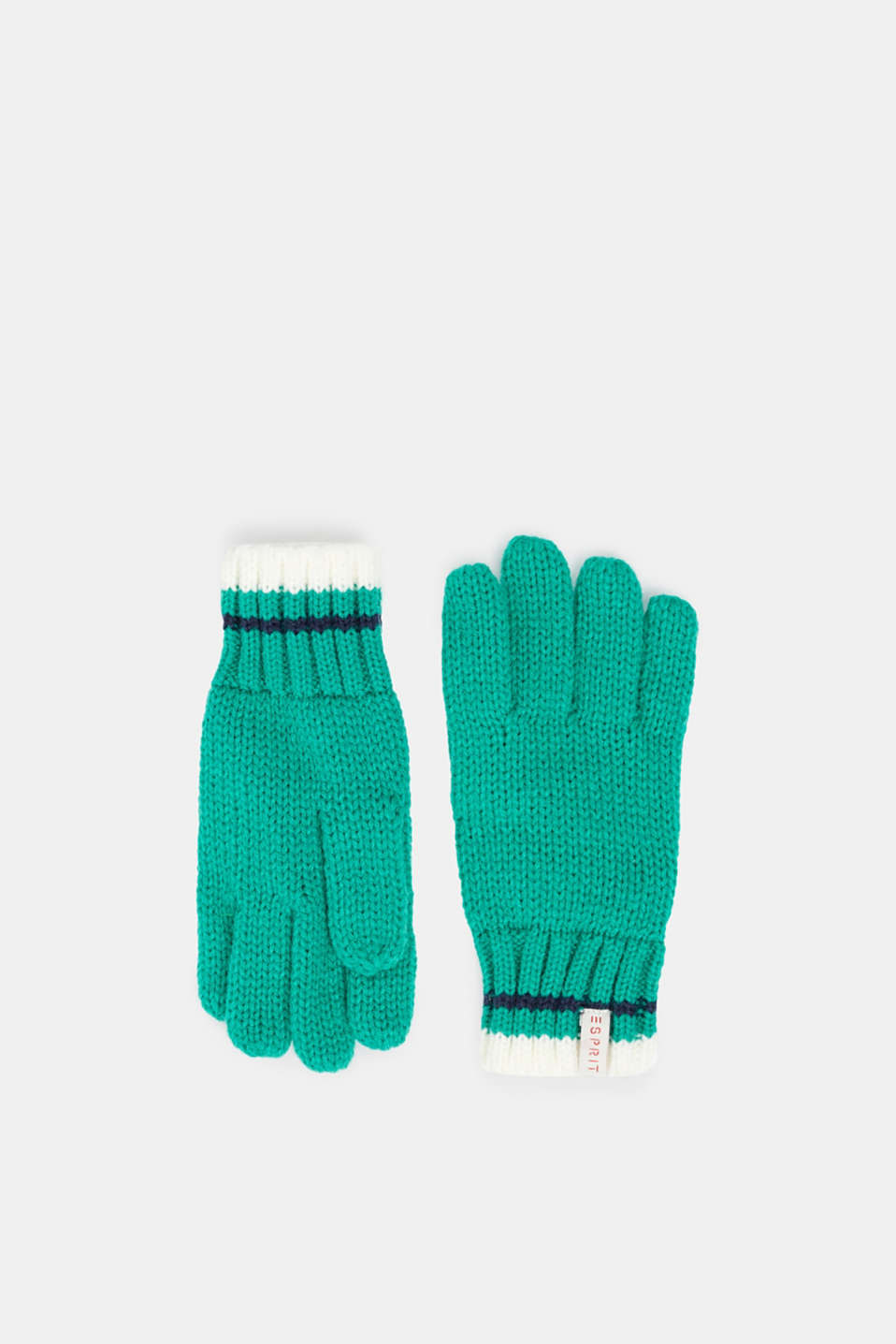 Gloves with striped ribbed cuff, MID GREEN, detail image number 0
