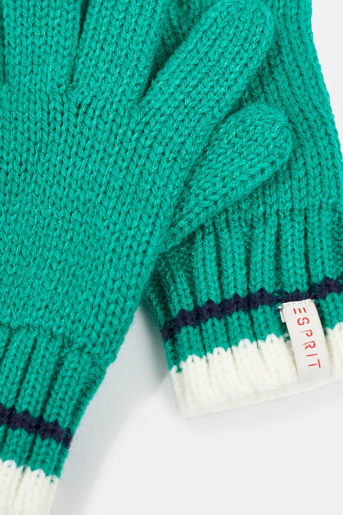 Gloves with striped ribbed cuff, MID GREEN, detail image number 1