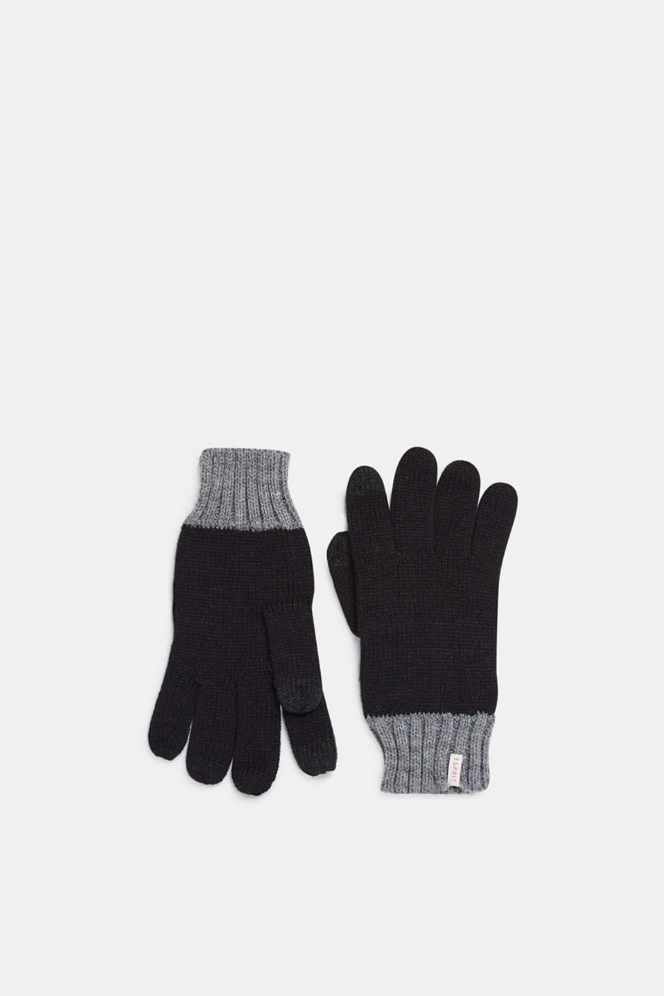 Knitted touchscreen gloves, LCBLACK, detail image number 0
